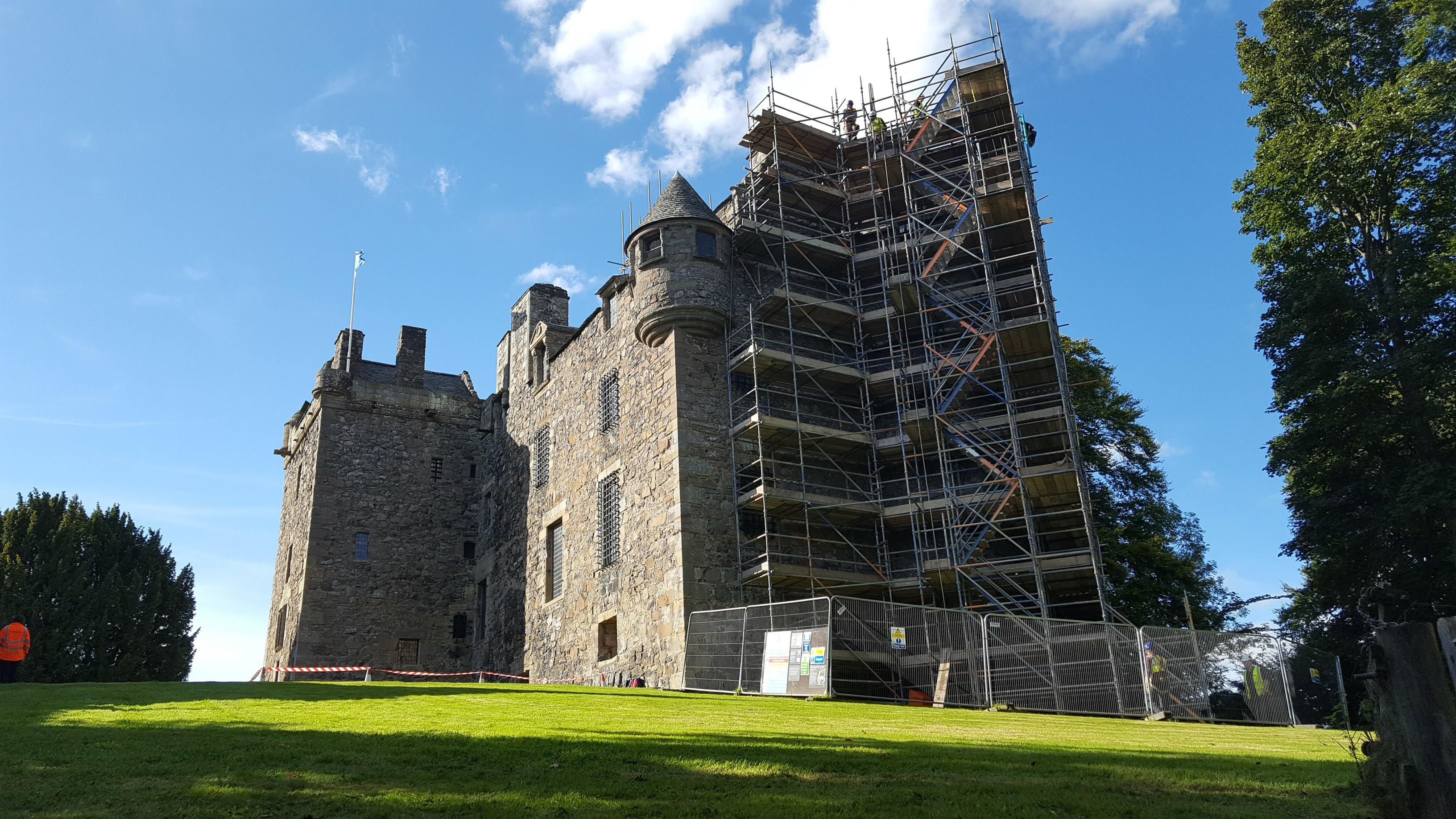Conservation work underway on Elcho castle