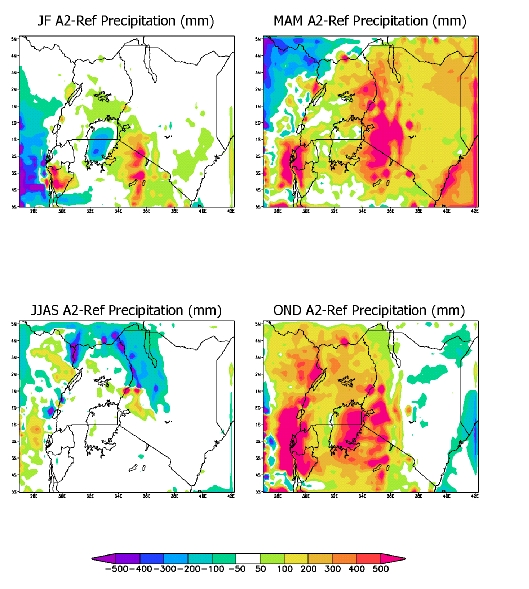 Figure 3 REGCM3 projection results for 2071 to 2100 (A2 RF, 20km resolution) for four seasons - rainfall