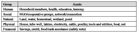 Typology of Assets which are used for Coping. Source: PDO-ICZM, 2002