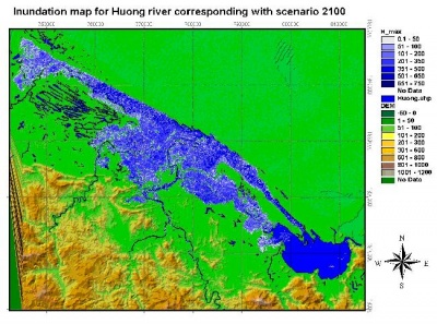 Figure 10:Inundation map corresponding with the year 2100