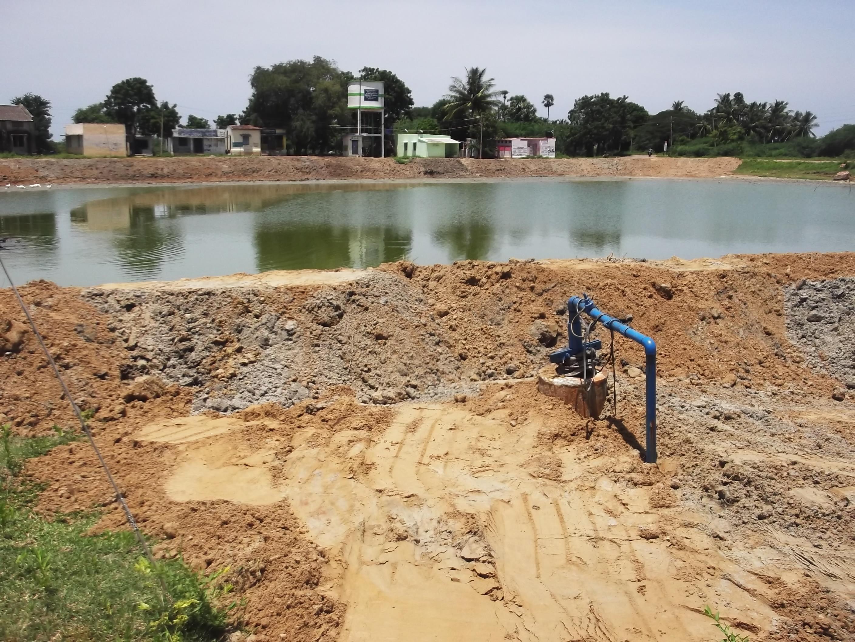 Pond renovation bund and shutter construction improving for Koi pond india