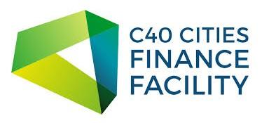 Green 3D triangle as a logo for C40 Cities Finance Facility