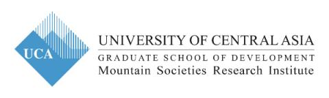 University of Central Asia logo : blue rhombus with shadings of blue shaped as mountains
