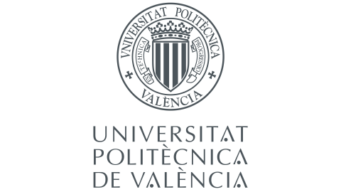 """The logo is a ring with the words """"Universitat Politecnica de Valencia"""". Within that there is a badge with stripes on it."""