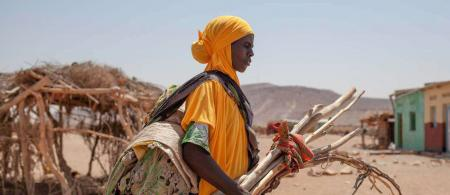 This Somali woman is carrying the wood, fabric and cords necessary to build her tent after fleeing drought. She walked four hours, crossing the mountains bordering the dry valley. Of her 200 sheep, nothing is left. Sick from the lack of food, her husband is now in hospital, leaving her alone to care for their five children.