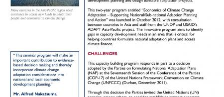 Briefing Note: Capacity Building Program on Economics of Climate Change Adaptation
