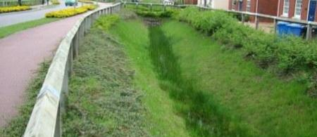 Sustainable urban drainage in new housing estate, Cambridgeshire