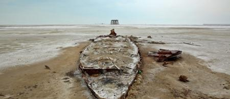 Photo of a wreckage of a boat is seen stuck in solidified salts and sands at Lake Oroumieh. Credit: Ebrahim Noroozi / AP Photo. Source: http://www.thenational.ae/world/middle-east/iran-in-a-race-to-save-largest-lake-from-drying-up