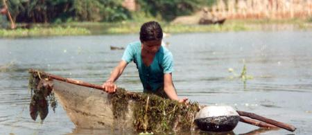 Woman fishing in Bangladesh