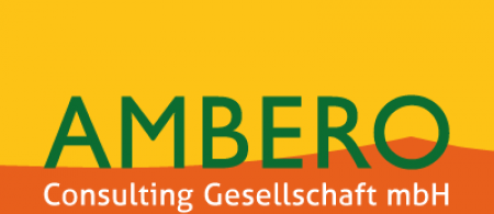 The logo is the word AMBERO in green on an orange and yellow background.