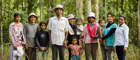 Cambodian family in a forest