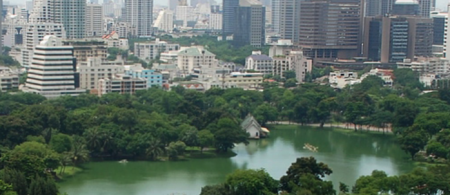 Aerial view of Lumphini Park, Bangkok, Thailand; Photo by Terence Ong, June 2007.