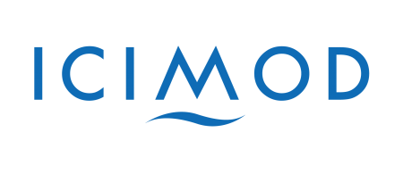 ICIMOD in capital blue letters with a wave under