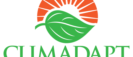 Climadapt logo is a green leaf with an orange sunset behind the leaf.
