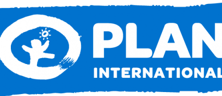 The Plan International logo has a blue background with a white circle. Within the white circle is the silhouette of a figure with a sun in the sky.