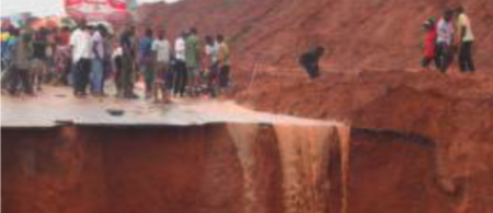 Soil erosion due to heavy rainfall in Nigeria