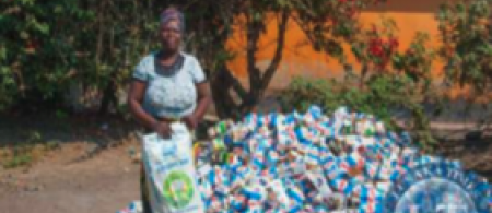 Paper containers of Chibuku collected for recycling
