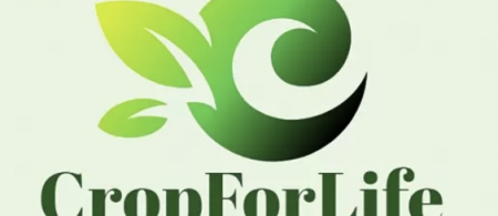 The Crop For Life logo is a green curly letter C with two leaves coming off the letter.