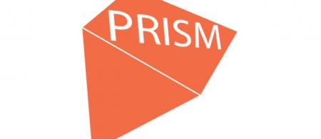 Red prism with pointed end in bottom left corner, the letter PRISM on the flat part of prism in the upper right corner