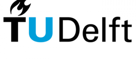 The logo is the words TU Delft, with the U in light blue and the rest of the text in black. There is a black flame above the T.