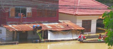 Flooding in Ubon Ratchathani is Northern Thailand, September 2019