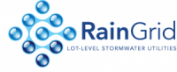 The RainGrid logo consists of nine interconnected water droplets arranged in a diamond pattern with a sub-title: lot-level stormwater utilities.