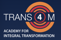 The logo says Trans4m in the centre in white text on a navy background, and the logo is surrounded by a series of red and orange rings.