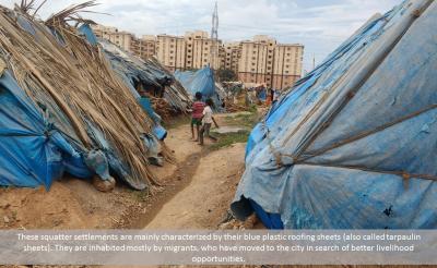 Blue tent settlements