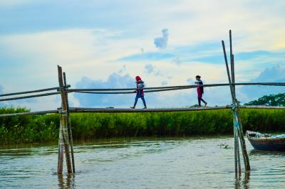 Children crossing bamboo bridge, Bangladesh