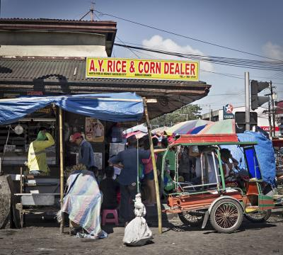Activity outside Burgos street market Bacolod City, Philippines