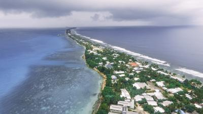 Aerial view of Tuvalu.