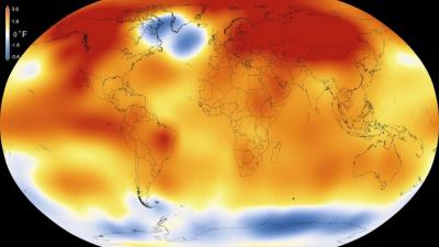 Climate change temperature map of the world