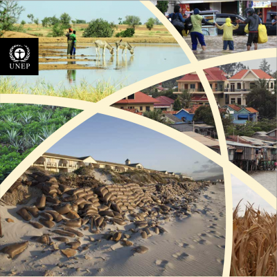 The cover of the PROVIA guidance document, composed of 6 images: image of people walking through a flooded urban area, image of people standing in a flooded field with cattle, 2 images of grass fields, 1 image of a settlement near a river, image of sand dunes