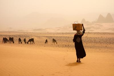 Woman carrying a basket in the desert.