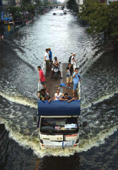 Flood water inundating Phahon Yothin Road in Bangkok, Thailand in November 2011