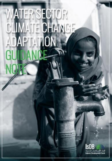Cover page of the Water Sector Climate Change Adaptation Guidance Note: child smiling drinking water from a hand water pump