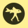 weadapt logo in black and yellow: a fish with man legs