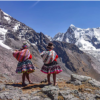 Local girls look at the view in Ausangate, Perú