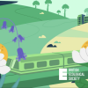 A cartoon image of a typical UK countryside scene. There is a railway line running across the bottom of the image, party obscured by daisies and bluebells. In the background there are a series of rolling hills with trees, footpaths and buildings. The logo for the British Ecological Society is placed in the bottom right-hand corner of the image.