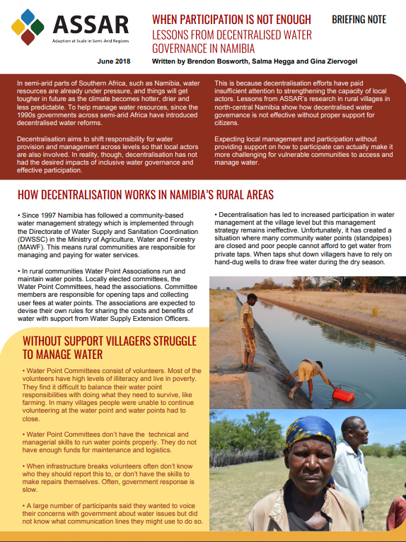 ASSAR brief: Lessons from decentralised water governance in Namibia
