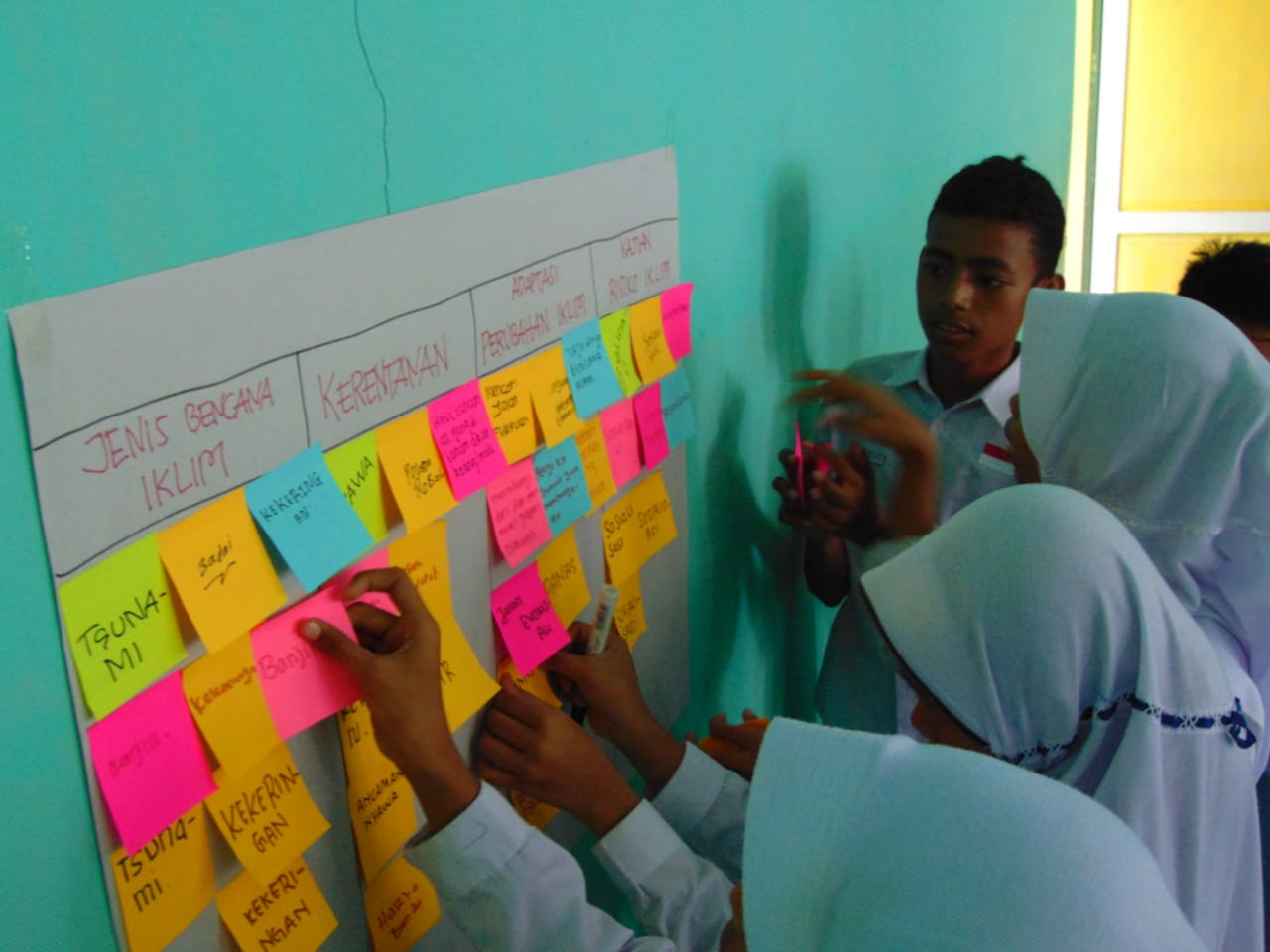 MTs Negeri 04 Siri Sori Islam students participated in disaster risk assessment at their school. Photo: USAID APIK Documentation